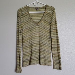 J. Jill Green Striped  Sweater